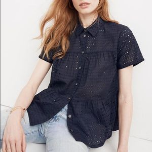 Madewell Navy Eyelet Seamed Button Down Shirt